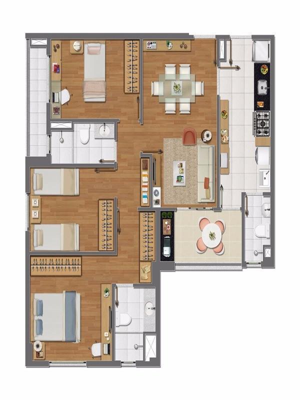 apartamento 3 quartos alphaville